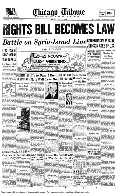 Civil Rights Act passed, 1964.   Historic Front Pages   Pinterest   Religion, The end and Form of