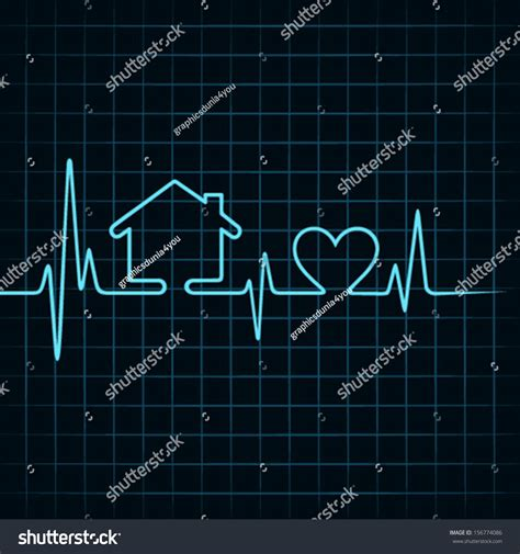 in the house in a heartbeat heartbeat make home heart icon stock stock vector 156774086 shutterstock