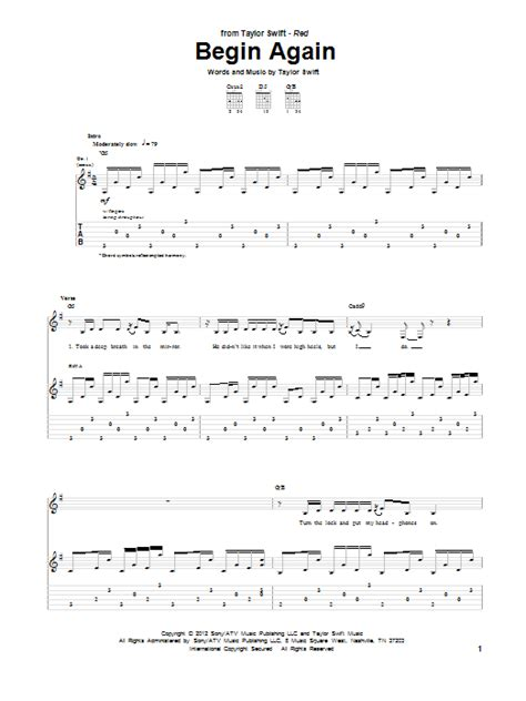 begin again taylor swift easy chords begin again by taylor swift guitar tab guitar instructor