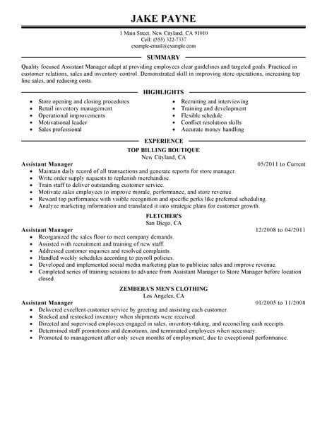 Assistant Manager Sle Resume by Best Retail Assistant Manager Resume Exle Livecareer