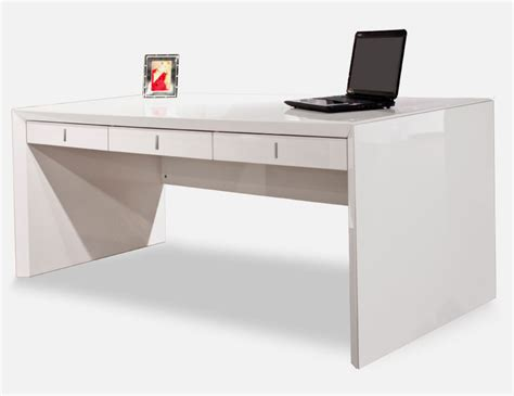 Sh03 White Lacquer Desk Executive Modern White Desks