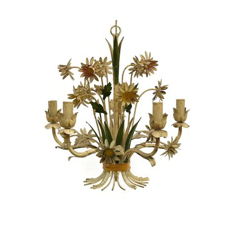 Vintage Toleware Chandelier French Country Decor Hand Toleware Chandelier