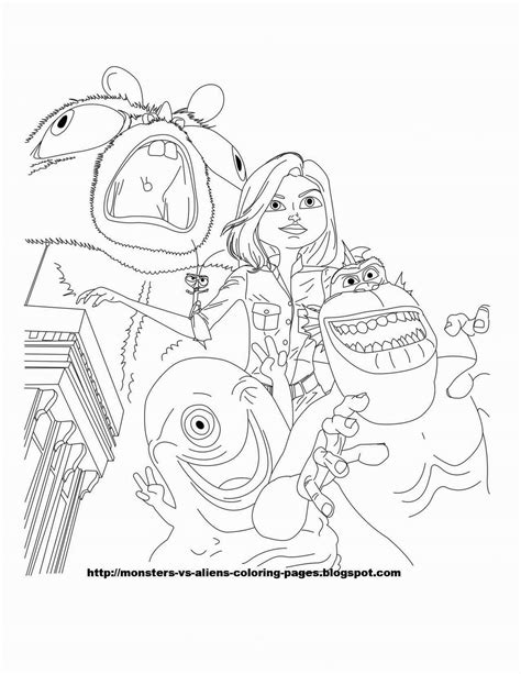 bob coloring page 224x300 monsters vs aliens coloring