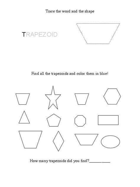 printable shapes trapezoid free trapezoid worksheet