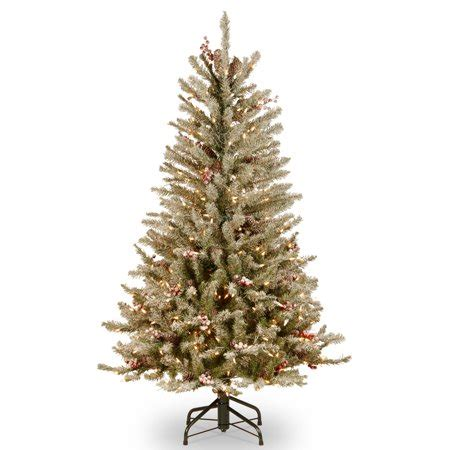 4 ft cone berry snow tip tree national tree pre lit 4 1 2 dunhill fir slim hinged artificial tree with snow