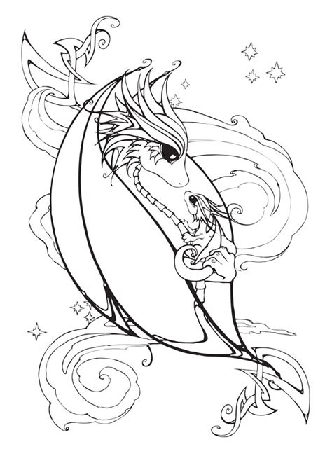 coloring pages of baby dragons mother and baby dragon coloring page by bittybiteyones on
