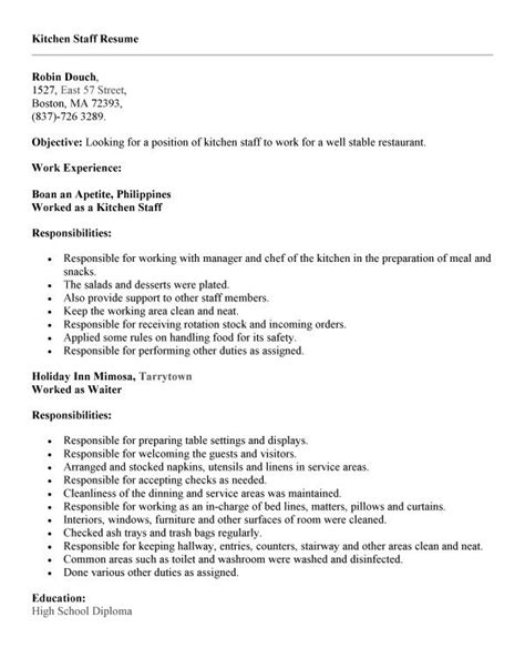 Resume Sle Kitchen Helper Sle Application Letter Kitchen Staff