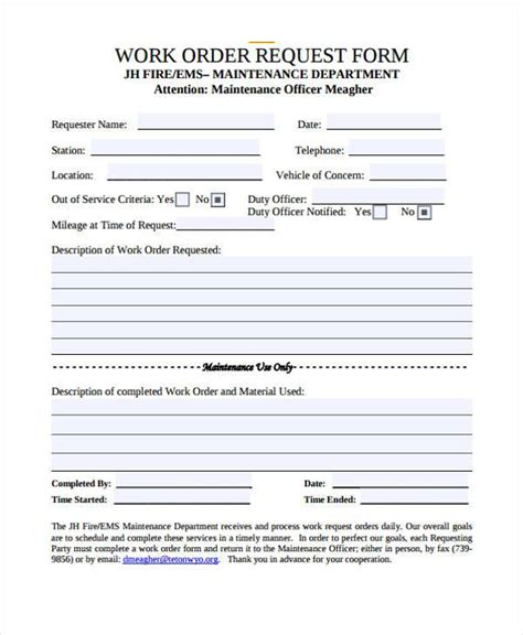work request form work order maintenance request form