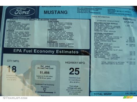 Mustang Window Sticker