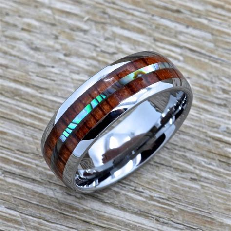 men s tungsten ring with abalone inlay hawaiian koa wood