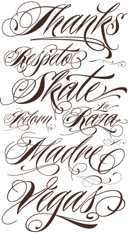 tattoo fonts names calligraphy lettering tattoos fonts