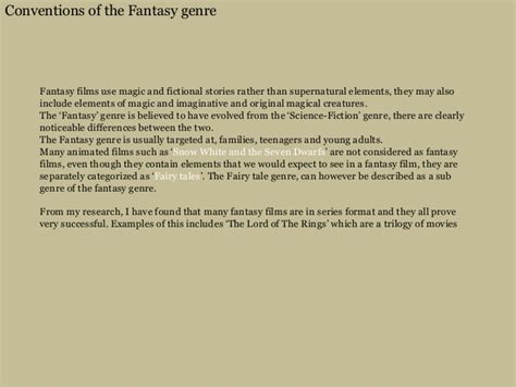 fantasy film genre elements conventions of the fantasy genre