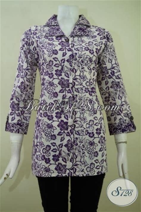 Baju Formal Kantor blus batik motif warna ungu baju batik desain formal untuk ke kantor batik jawa proses cap
