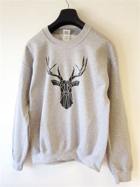 design t shirt for holiday men s sweat shirt geometric stag deer head print cool