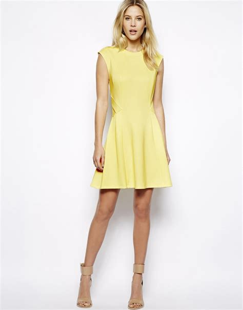 Dress Yellow Scuba ted baker scuba dress in yellow lyst