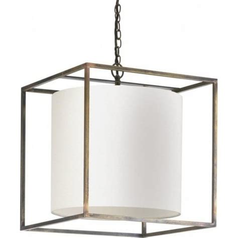 Cube Pendant Light Derwent Cube Shaped Ceiling Pendant Light Antique Frame Linen Shade