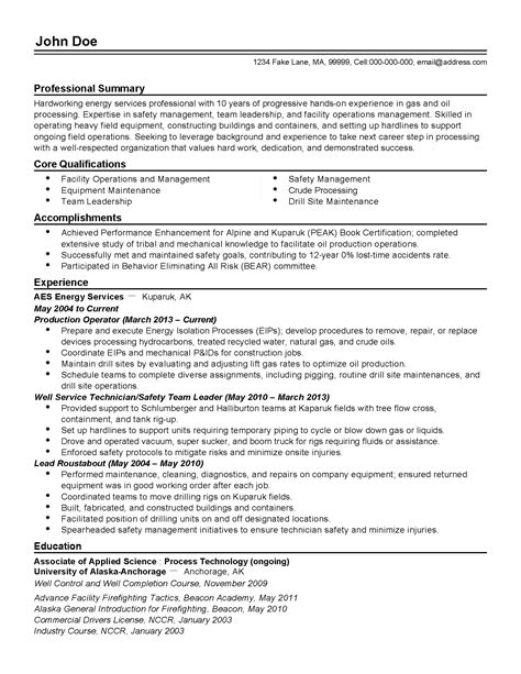 Resume Sles For Experienced Computer Operator Professional Production Operator Templates To Showcase