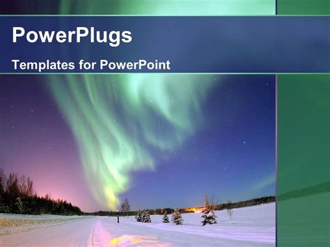 landscape lighting ppt powerpoint template northern lights snowy landscape just after sunset 2326