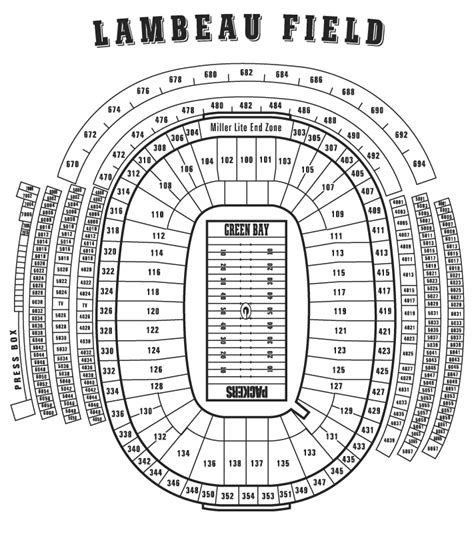 seating chart lambeau lambeau field green bay wi seating charts page