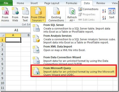 Spreadsheet Query by Import Ms Access Database To Excel 2010 Using Ms Query