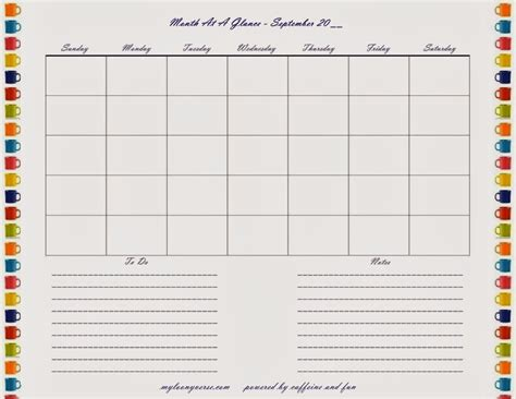 month at a glance calendar template month at a glance free printable calendar template 2016