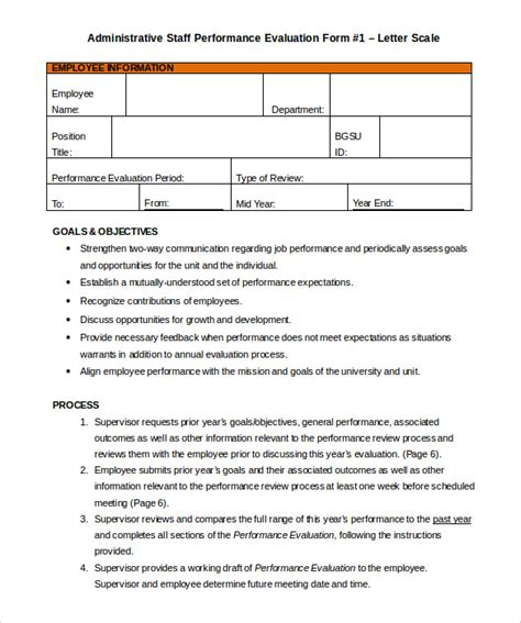 Employee Self Evaluation Sle Letter Staff Appraisal Templates 28 Images Employee Evaluation Forms 9 Sles Exles Format