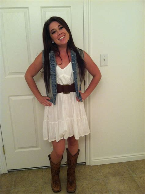short white dresses on pinterest cowboy boot outfits cowboy boots white sun dress brown belt jean vest