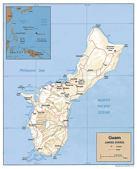printable road map of guam detailed political and relief map of guam guam detailed