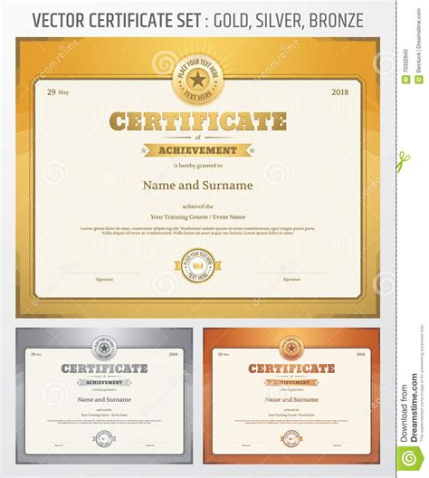 certificate of achievement template in vector in gold