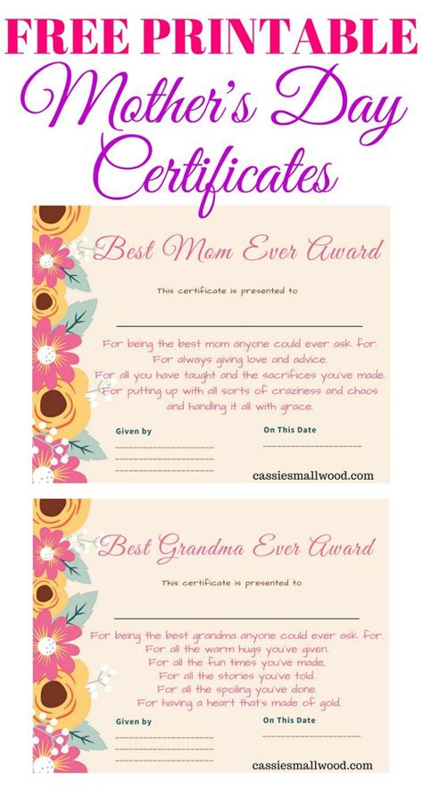 Free Mothers Day Printable Certificate A Rds For Mom And