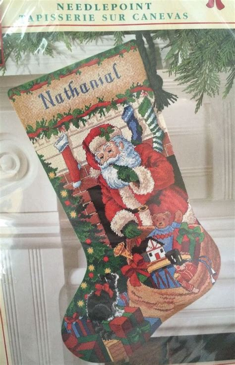 needlepoint patterns for christmas stockings christmas holiday needlepoint stocking kit dimension santa