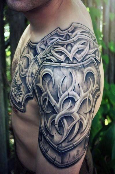 Top 90 Best Armor Tattoo Designs For Men Walking Fortress Chest Plate Tattoos Designs 2