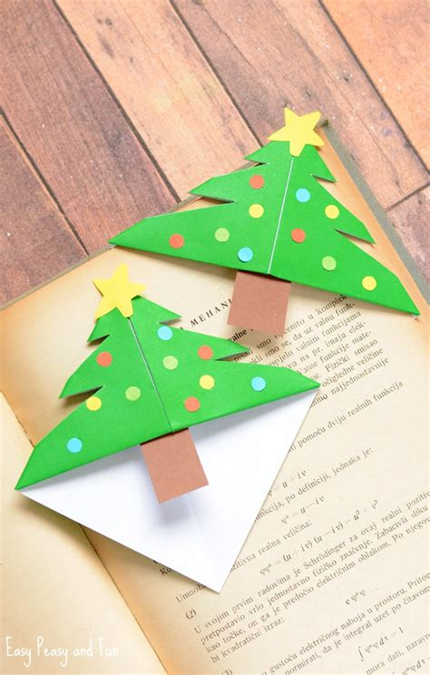 Fall Paper Crafts For Kids - christmas tree corner bookmarks origami for kids easy peasy and fun