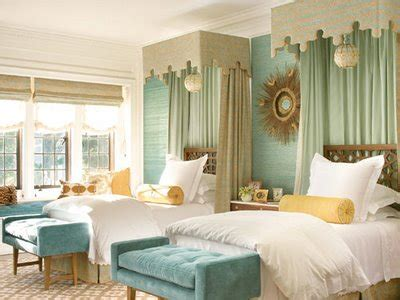 awesome Grey Blue And Yellow Color Scheme #2: guest-room_canopied-curtain-twin-beds-modern-traditional-yellow-tan-brown-aqua-seaglass_veranda-greystone-great-house-via-haven-and-home-mar09.jpg