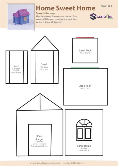 printable house design templates stencils https scribbler3dpen com