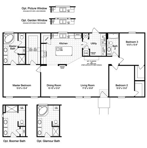 floorplan or floor plan the harbor house ft28603b manufactured home floor plan or
