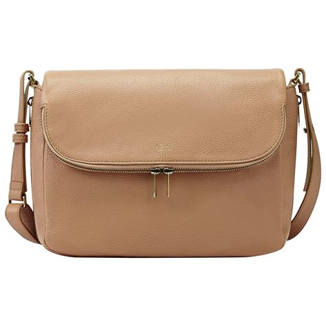 Fussil Flap fossil leather small flap crossbody bag in beige