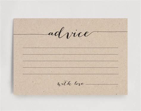 wedding advice card advice printable advice template
