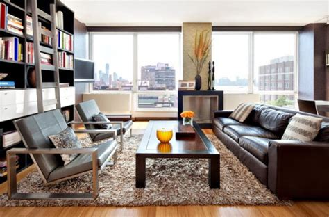 Chic Shaggy Rugs Inspiration For by Give Your Living Room An Elegant Look With A Brown Leather