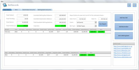 Records Databases Bet Records Spreadsheet Betting Tools