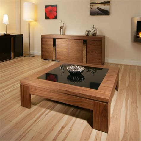 modern designer coffee table large square walnut  black glass  quatropi