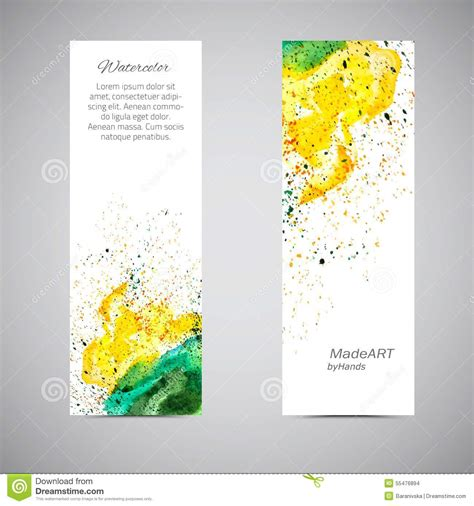 Handmade Card Company Names - vector banner set watercolor stock vector image 55476894