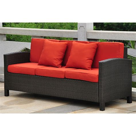 red cushions for sofa barcelona outdoor sofa black antique wicker red