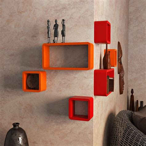home decor nation cube rectangle wall decor shelves set orange and red
