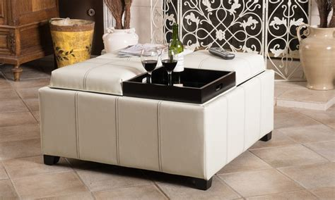4 tray top storage ottoman 12 off on storage ottoman with tray tops livingsocial shop
