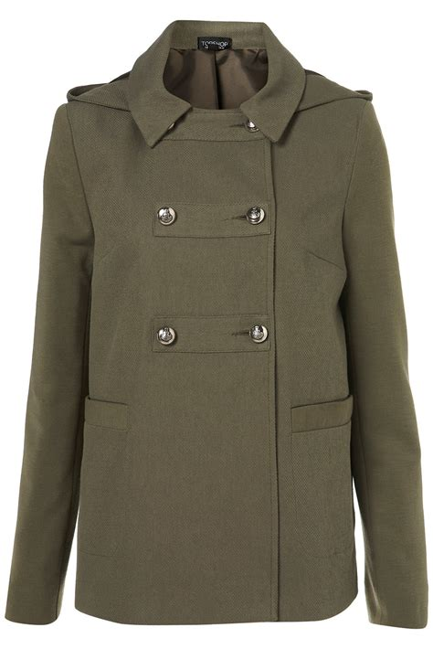 hooded swing coat topshop lightweight hooded swing coat in khaki lyst