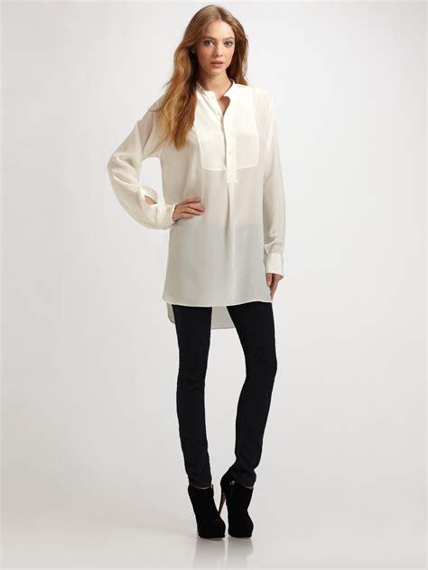 white sheer silk blouses for women joseph oversized semi sheer silk blouse in white lyst
