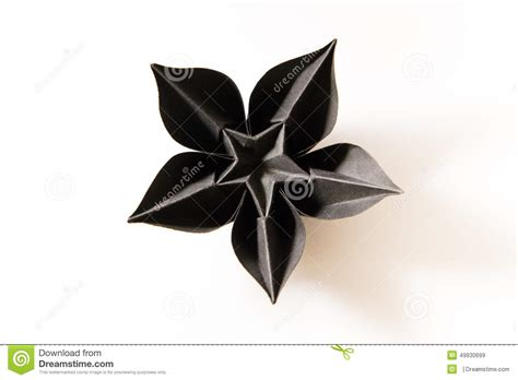 Black Origami Paper - origami flower stock photo image 49930699