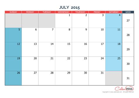 july 2015 printable calendar planner monthly calendar month of july 2015 the week starts on