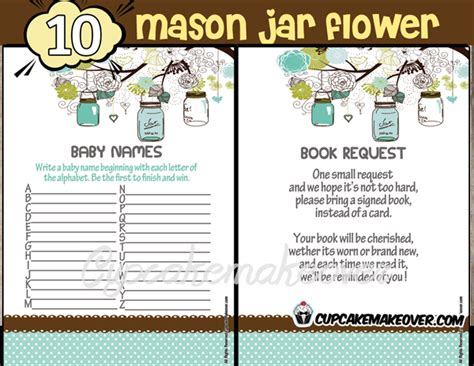 download games themes jar mason jar baby shower games blue instant download